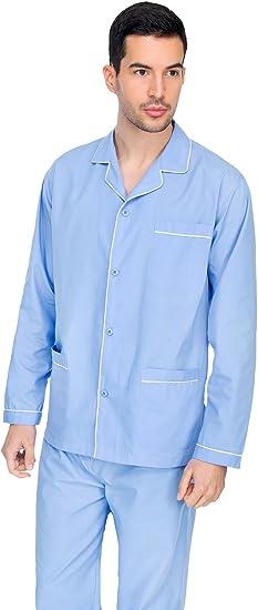 Diplomat - Artículo WO501 - Pijama para hombre, de manga larga, abierto, de algodón, azul claro, 56