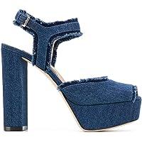 Sergio Rossi Lüks Moda Kadın A81800MFN8644025 Mavi Pamuk Sandalet | İlkbahar-Yaz 20