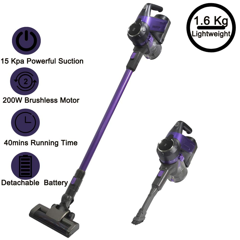 SU-VAC Purplue 2 in 1 Vacuum Cleaner Cordless Stick Vacuum 200W Brushless Motor High Power UP to 15KPA Lightweight Handheld Vacuum with 22.2 V Detachable Lithium Ion Battery Rechargeable & Wall-Mount