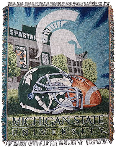 The Northwest Company Officially Licensed NCAA Michigan State Spartans Home Field Advantage Woven Tapestry Throw Blanket, 48