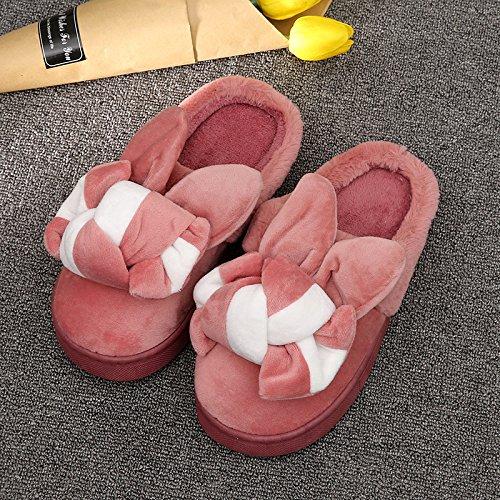 Fankou Autunno e Inverno il cotone pantofole orecchio femmina cotone e graziosa casa anti-slittamento spesse pantofole ,39-40, bianco rosso