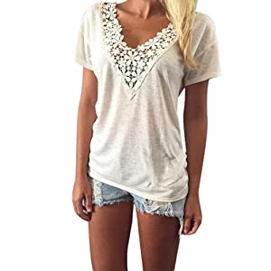 Women's Summer Short Sleeve Tops V-neck Lace Vest Casual T-shirt Blouse (M)
