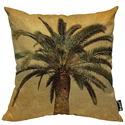 (Mugod Palm Tree Throw Pillow Case Hawaiian Tropical Palms Leaf Vintage Green Yellow Decorative Cotton Linen Square Cushion Covers Standard Pillowcase Couch Sofa Bed Men/Women 18x18 Inch)