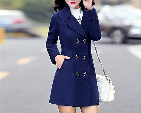 c6b01ffa5 Amazon.com  Autumn Winter Women s Wool Coat Double Breasted Coat ...