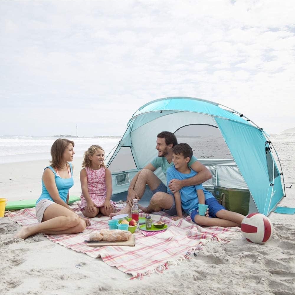 instalaci/ón Simple Ligera y f/ácil de Transportar Forceatt 2-3 Personas Tienda de Sombra para Acampar en la Playa se prefiere Acampar en la Playa para Vacaciones en la Playa Protector Solar UPF50 +