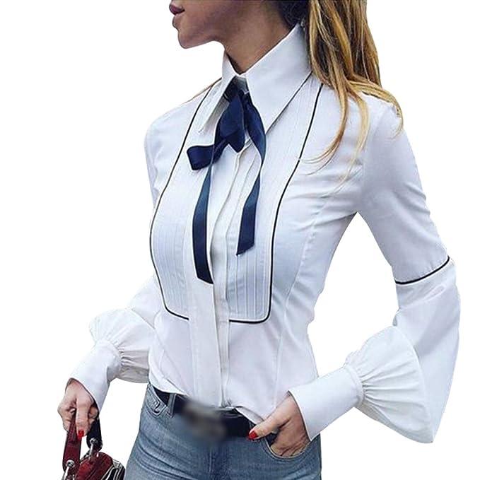 newest d4c5c 44c53 LvRaoo Donna Elegante Camicia Bavero Manica Lunghe Camicetta con Fiocco  Tops Blusa