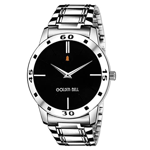86f1621c1e47 Buy Golden Bell Original Black Dial Silver Stainless Steel Chain Analog Wrist  Watch for Men - GB-452 Online at Low Prices in India - Amazon.in