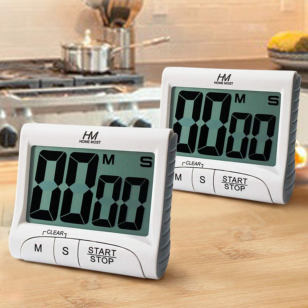 """HOME MOST 2-Pack Large Display Kitchen Timer - 3"""" Digital Timer Magnetic Back Loud Alarm - White Cooking Timers for Kitchen Teachers Students Games Meetings - Sports Timer for Workouts Exercise"""