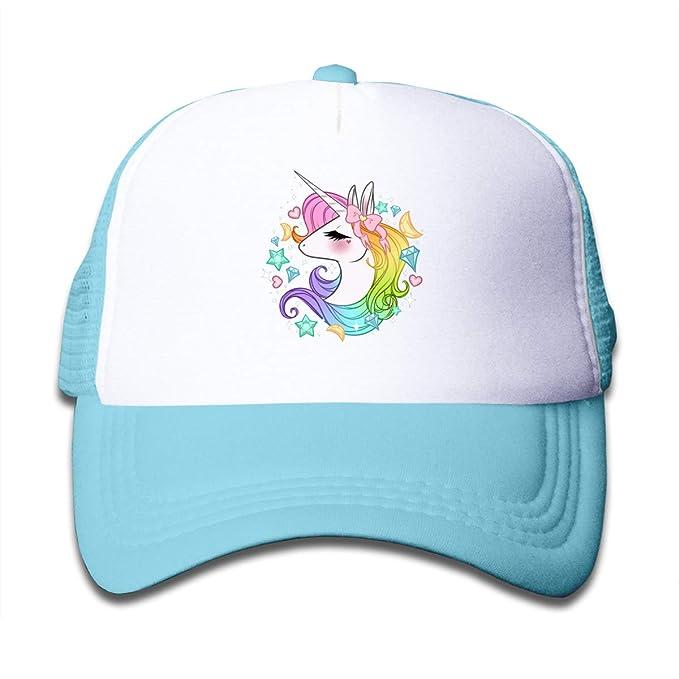 b8fadbdc60712 LoKIDve Lindo Unicornios Niños Niñas Gorra de Malla Trucker Sombreros  Ajustable
