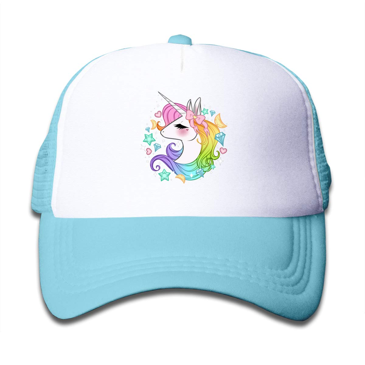 Waldeal Girls Cute Unicorns Kids Mesh Trucker Caps Adjustable Snapback Hat SkyBlue