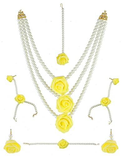 Buy anuradha art white yellow colour designer styled with white anuradha art white yellow colour designer styled with white pearls wonderful flower jewellery bridal mightylinksfo