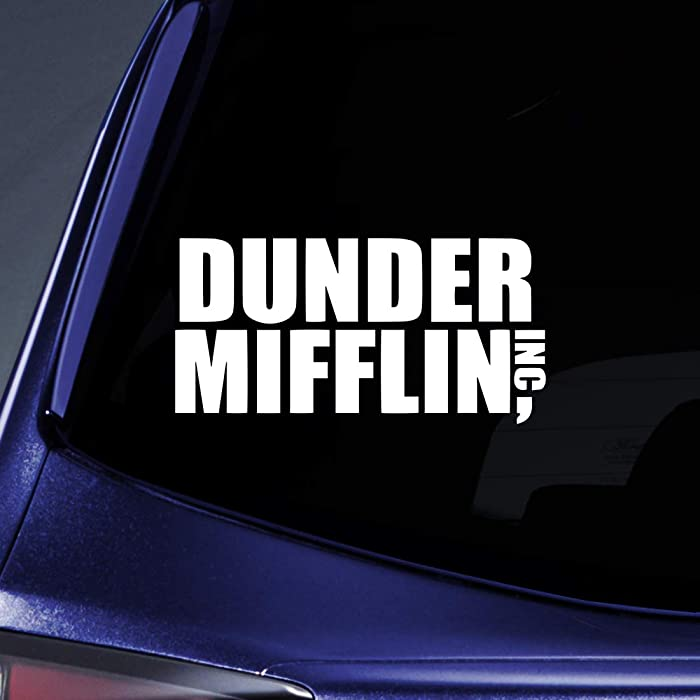 "Bargain Max Decals - Dunder Mifflin Office - Sticker Decal Notebook Car Laptop 6"" (White)"