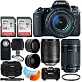 Canon EOS 77D DSLR Camera + EF-S 18-135mm IS USM Lens + EF-S 55-250mm IS STM Lens + 64GB & 32GB Memory Card + 58mm Telephoto & Wide Angle Lens + Camera Case + Flash Diffusers + UV Filter + Accessories