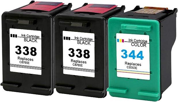 Gmoher Cartucho de Tinta Remanufacturado para Cartuchos de Tinta HP 338 344 C8765E / C8766E Compatible con HP PhotoSmart 2575, HP DeskJet 460/5740/6540/6620/6840/9800 (2 Negro, 1 Tricolor): Amazon.es: Electrónica