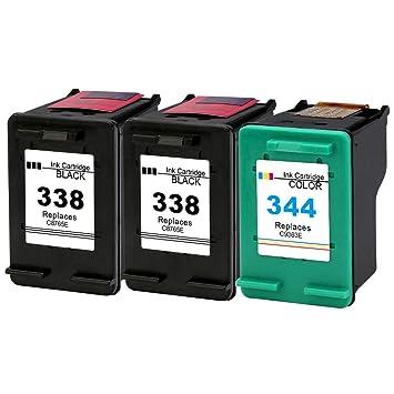 Gmoher Cartucho de Tinta Remanufacturado para Cartuchos de Tinta HP 338 344 C8765E / C8766E Compatible con HP PhotoSmart 2575, HP DeskJet ...