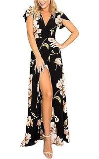 MAGICMK Vestido Largo con Cuello en V en bouclé Floral con Cuello en V  Floral Profundo 89cb663845bb