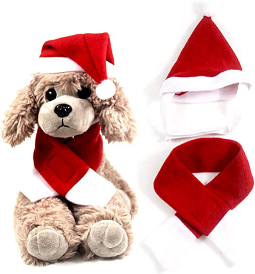 Amazon Com Antifur Dog Cat Santa Hat Costume Cute Christmas Cat Costume With Hat And Scarf For Small Dogs Perfect For Christmas Holiday Holloween Party Photos Pet Supplies