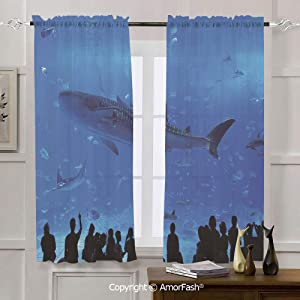 AmorFash Shark Decorative Curtains Thermal Sheer Curtain Panels for Bedroom,2 Panels,42x72 Inch Japanese Aquarium Park with People Silhouettes Watching Underwater Life Hobby Image Decorative