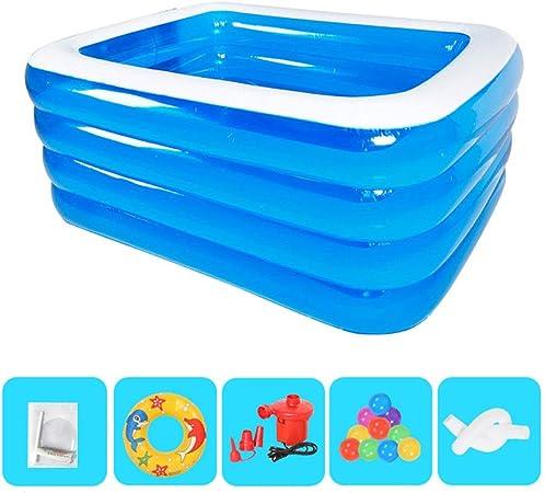Shi xiang shop piscina hinchable al aire libre azul niños piscina piscina verano agua bañera bañera con bomba eléctrica, piscina grande móvil, 1,5 m: Amazon.es: Hogar