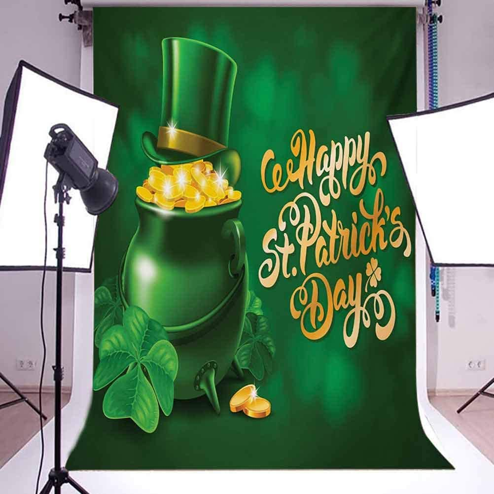 St Patricks Day 10x12 FT Photo Backdrops,Large Pot of Gold Leprechaun Hat and Shamrocks Greetings 17th March Background for Child Baby Shower Photo Vinyl Studio Prop Photobooth Photoshoot
