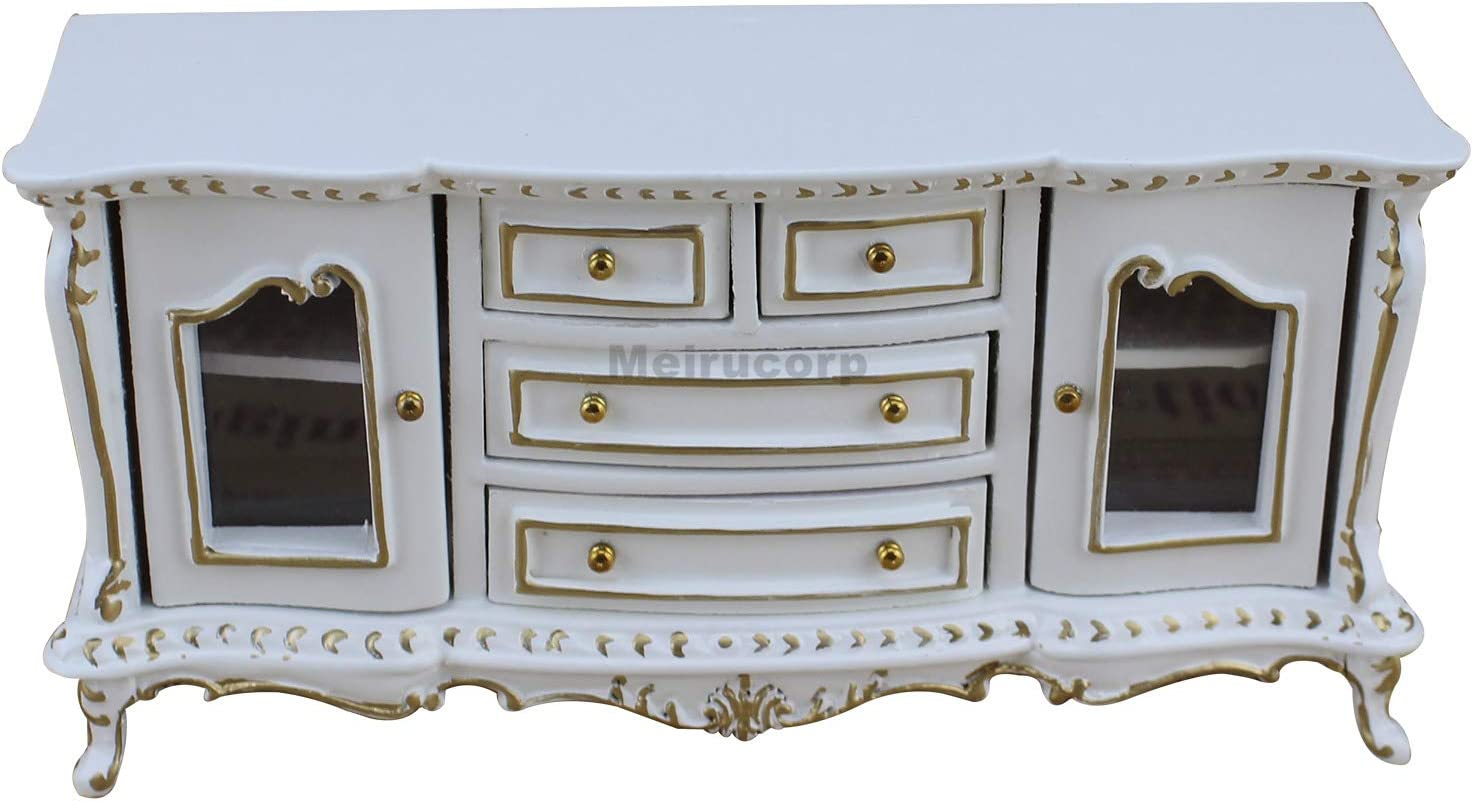 Meirucorp 1/12 Scale Dollhouse Miniature Furniture White Good Hand Classical Sideboard