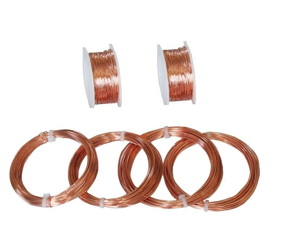 Solid Copper Assorted Sample Round Wire 18, 20, 22, 24, 26, 28 Ga (Dead Soft) by Modern Findings (TM)