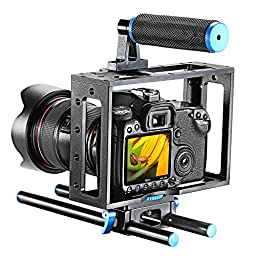 Neewer Aluminum DSLR Camera Cage Kit With 15mm Rod Rig For Nikon Pentax Canon Sony and Other DSLR Camera to Mount Microphones, Monitor, Sound Recorders, Top Handle, Tripod, Follow Focus