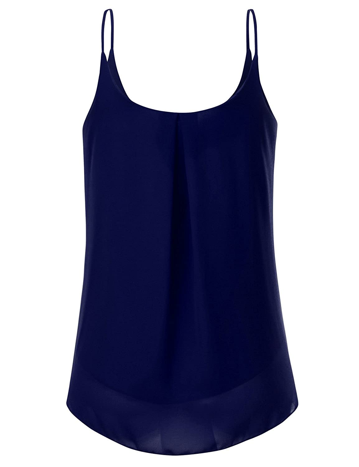 d251df40e97b8 JJ Perfection Women's Pleated Chiffon Layered Cami Tank Top at Amazon  Women's Clothing store: