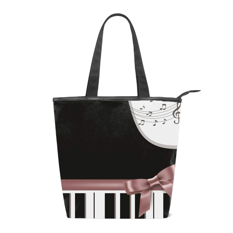 138fc27ff7af Amazon.com: Canvas Piano Keyboard Ribbon Tote Bag Zipper Closure ...