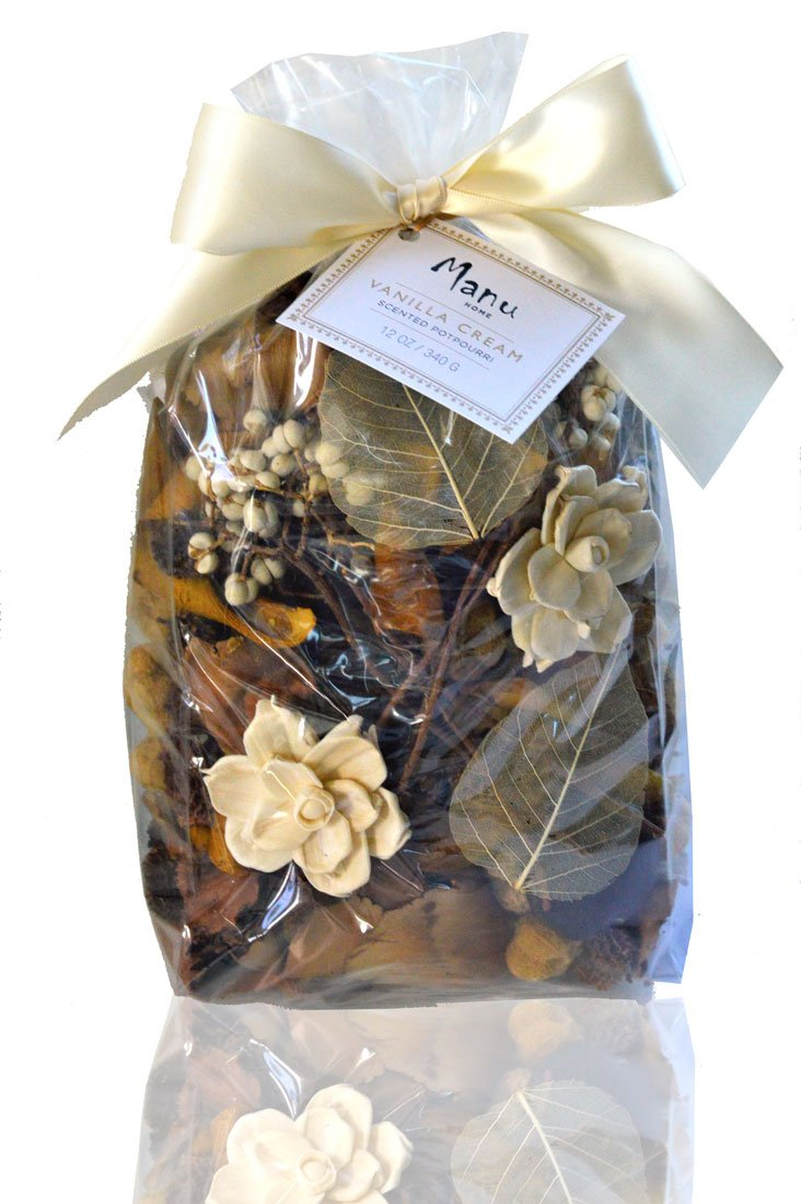 Manu Home Vanilla Amber Potpourri ~ Over 12oz of beautiful natural pods lightly scented with our award winning Fragrance ~Perfect scent and look to welcome any Season~ Proudly Made in the USA!