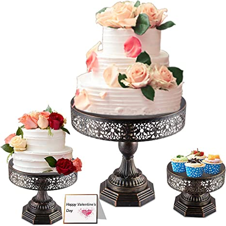 Amazon Com Weharnar 8 Inch 10 Inch 12 Inch 3 Piece Cake Stand Set Two Usage Dessert Display Cupcake Stands With Multiple Free Combination Styles For Baby Shower Wedding Birthday Party Celebration Bronze Cake Stands