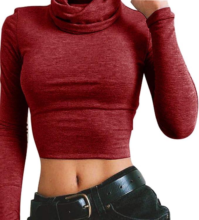 Kootk Mujer Camiseta de Manga Larga Cuello Alto Bodycon Crop Top ...