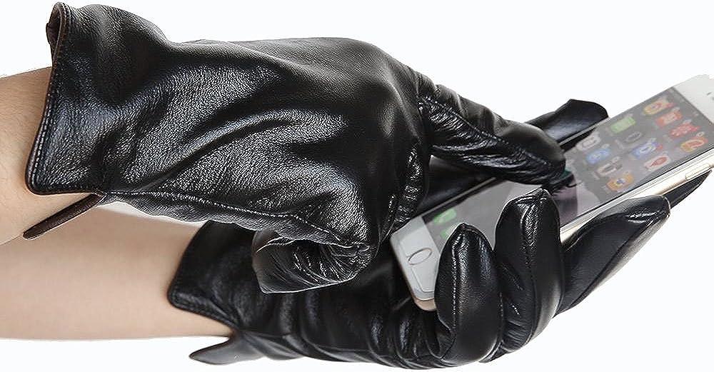Gants en Cuir Nappa Italien /à /écran Tactile Gants Chauds Mitaines Cyclistes /épaisses Gants en Cuir dAffaires Gants en Cuir dhiver pour Hommes Gants de Sport Hommes