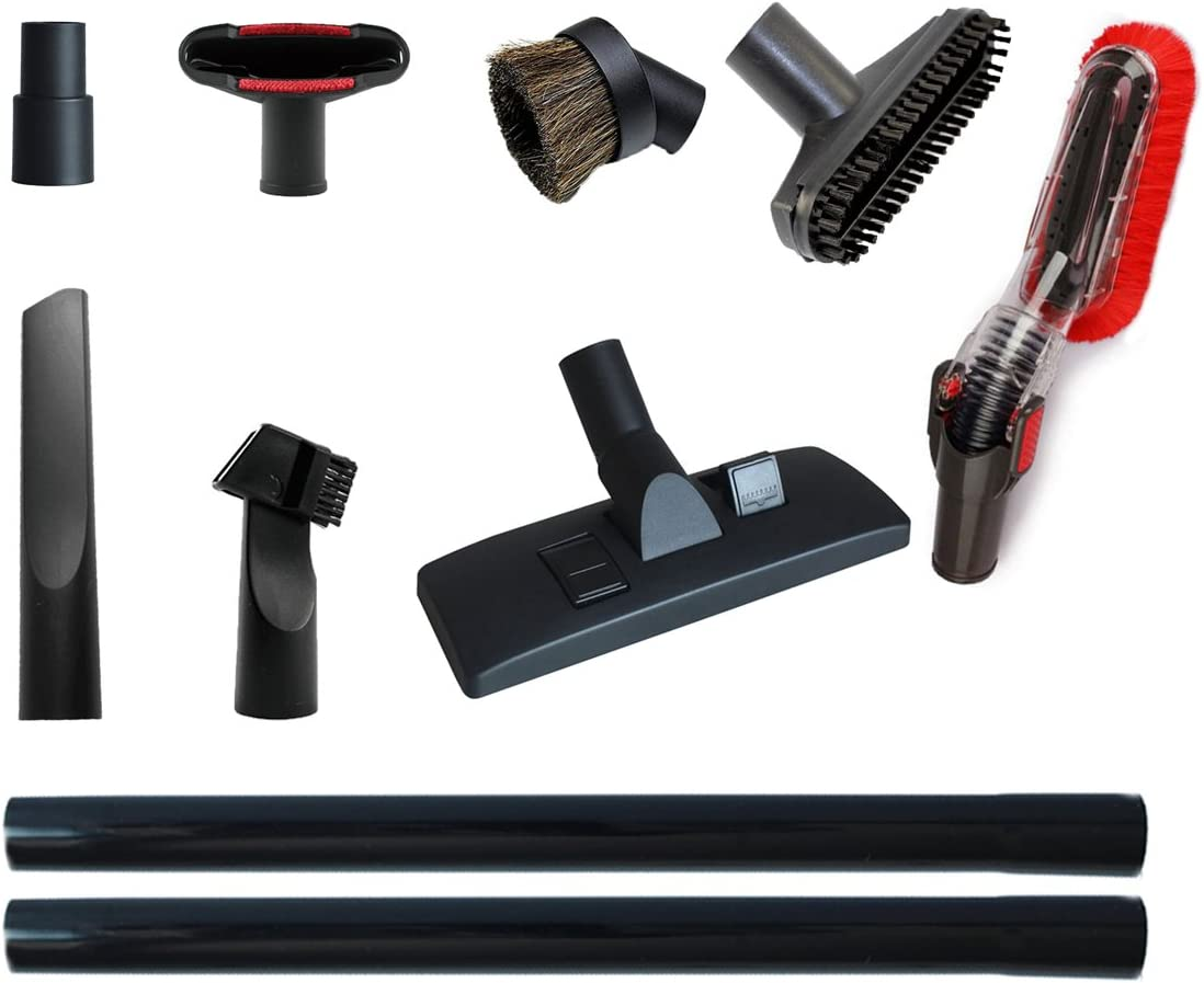 GIBTOOL Vacuum Attachments Accessories Cleaning Kit Vacuum Brush Nozzle Crevice Tool VAC Upholstery Tool Hose Adapter Dusting Brush for 1 1/4 inch& 1 3/8 inch Standard Hose 9pcs