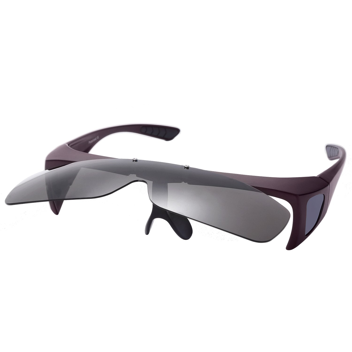 O-LET Fit Over Prescription Glasses Sunglasses Women Men Driving (Purple Frame/Grey Lens, 77)