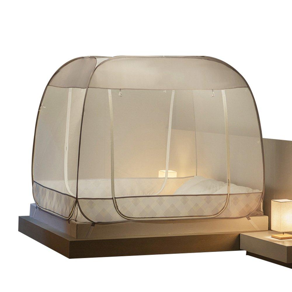 QFFL wenzhang サマーモスキートネットダブルベッドモスキートネット折り畳み可能なモスキートネット防蚊防止防塵 (色 : Brown, サイズ さいず : 1.8M bed) 1.8M bed Brown B07DRJ5LMN
