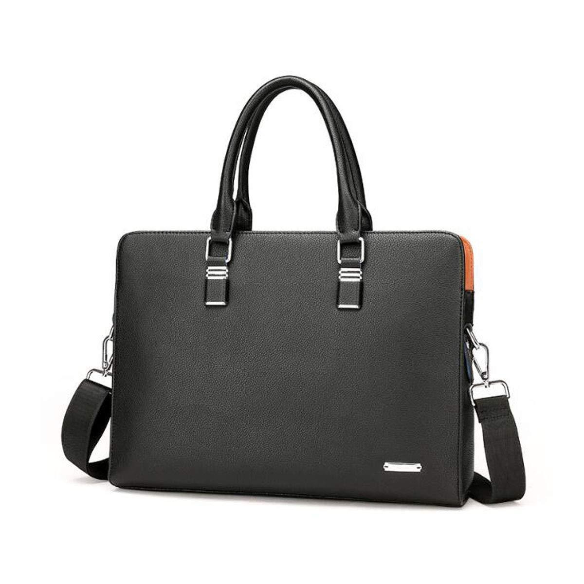 Hengxiang メッセンジャーバッグ、ラップトップブリーフケース、弁護士バッグ、大容量ラップトップバッグ、ビジネスメンズスリムバッグ、サイズ:38827cm ビジネスオフィスメッセンジャーバッグ(色:ブラック)   B07PCQGNNP