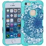 5 5S, iPhone 5 Case, Iphone 5 Cases, iPhone SE Case, iPhone 5S SE Phone Case,Ezydigital 3in1 Hybrid High Impact Hard Colorful Flowers Pattern +Silicone Case Cover iPhone 5 case For iPhone 5S