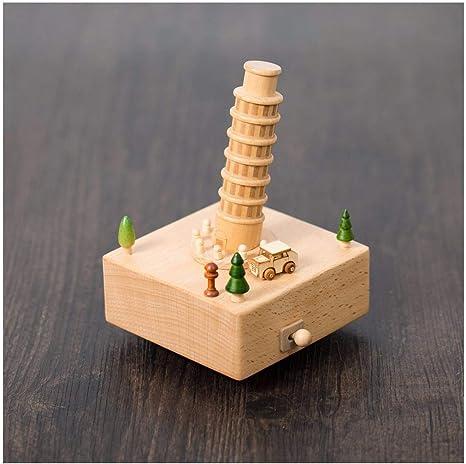 Caja Musical Vintage Artesanía en Madera Europea Ideas de cumpleaños carruseles de Regalo Cajas de música Cajas de música (Color : Leaning Tower): Amazon.es: Hogar