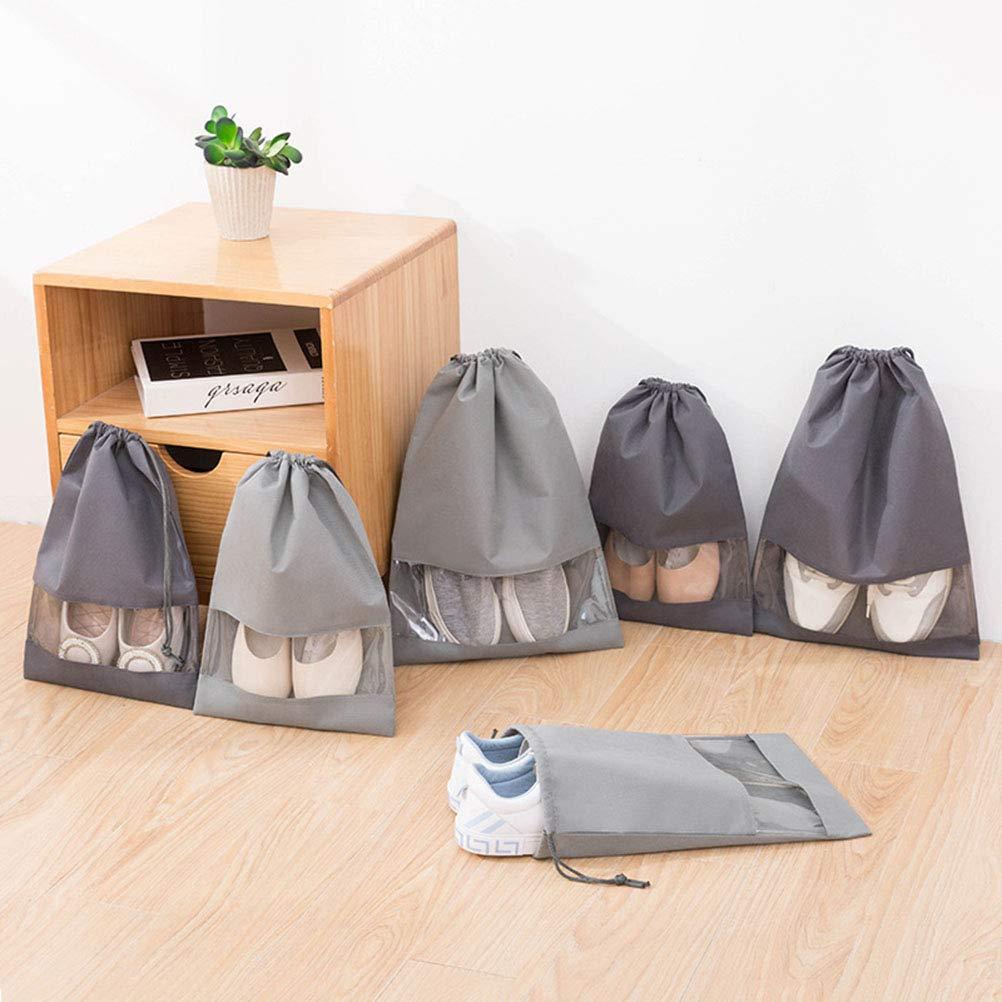 Gris Claro Grandes Bolsas de Almacenamiento de Zapatos con cord/ón no Tejido con Ranura Transparente para Hombres y Mujeres BSTOPSEL 10 Bolsas de Viaje para Zapatos M+L sin Tejer