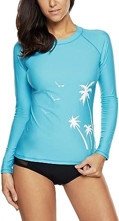 NEW Charmleaks Women Rash Guards Swimwear Long Sleeve Rashguard Surf UPF 50