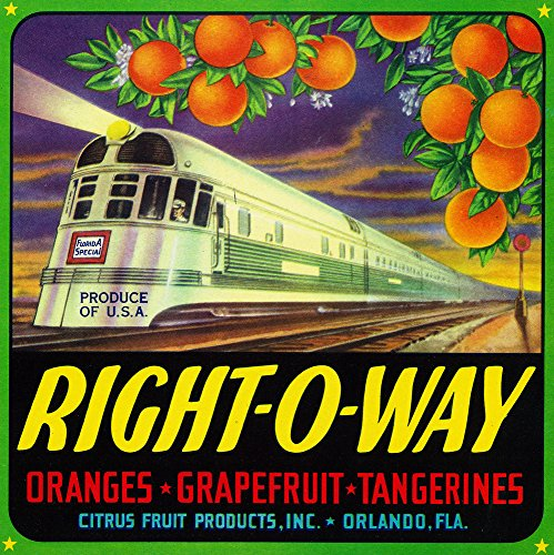 Orlando, Florida - Right-O-Way Brand Citrus Label (9x12 Art Print, Wall Decor Travel Poster)