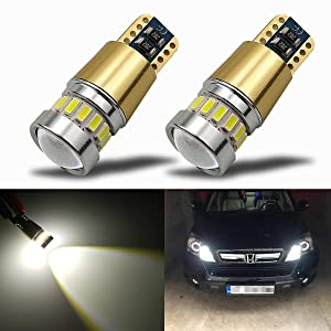 iBrightstar Newest 12-24V Super Bright 194 168 175 2825 W5W T10 LED Bulbs with projectors For Car Interior Dome Map Door Courtesy License Plate Side Marker Lights,Xenon White