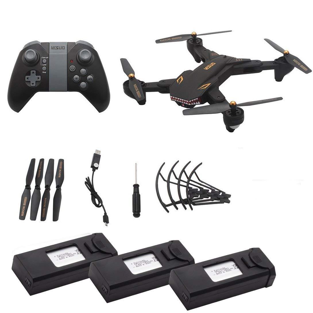 Swiftswan Für XS809S 2.4G RC Drone mit 0.3MP Kamera Faltbare Mini Quadrocopter Headless Modus Höhe Halten G-Sensor WiFi FPV Drone schwarz
