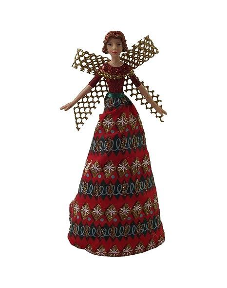 Christmas Angel Tree Topper.Amazon Com Gisela Graham Fabric Christmas Angel Tree Topper