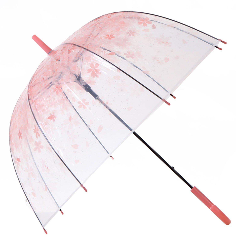 HAOCOO Cherry Blossoms Clear Umbrella,Bubble Transparent Dome Auto Open Umbrella Windproof for Outdoor Weddings (Pink)