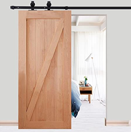 Herraje para Puerta de Granero Corredera de madera Puerta Deslizante Juego Completo para Puertas Correderas Divisores Puertas Interiores y Armarios de Pared (200cm, Modelo C): Amazon.es: Hogar
