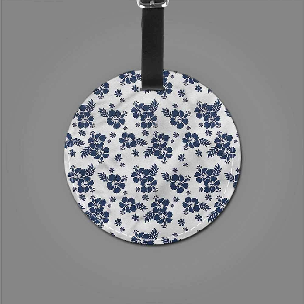 Holder Baggage Hawaii,Monochrome Flower Art Address Tags