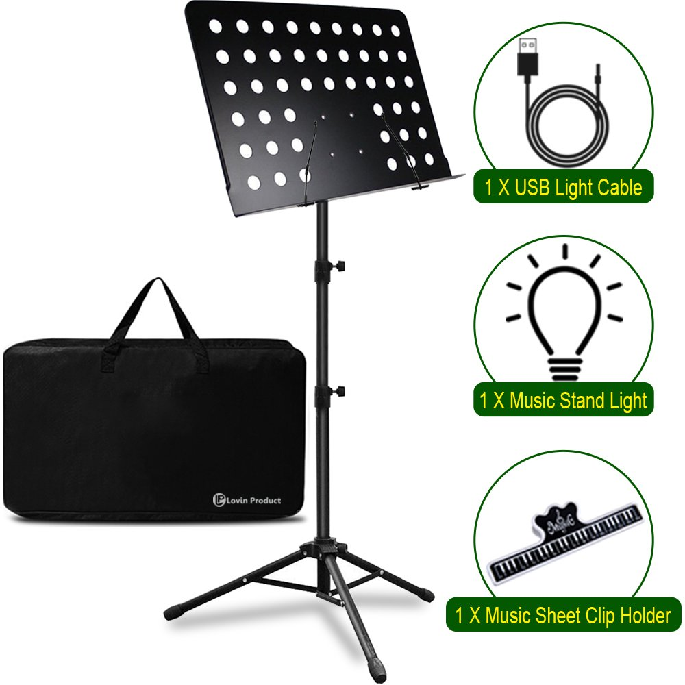 Music Stand, LOVIN PRODUCT Professional Collapsible Orchestra Portable and Lightweight with LED light, Music Sheet Clip Holder and Carrying Bag Suitable for Instrumental Performance. (1 PACK) 10806830