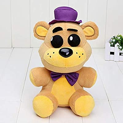 LFSLAS 25cm FNAF Five Nights at Freddy Plush Toys Nightmare Fredbear Golden Freddy Fazbear Plush Toys Doll 25cm Purple hat: Toys & Games